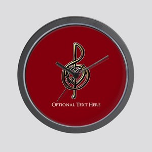 Custom Red Treble Clef Music Design Wall Clock