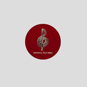 Custom Red Treble Clef Music Design Mini Button
