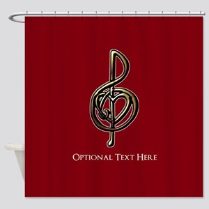 Custom Red Treble Clef Music Design Shower Curtain