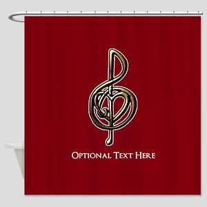 Custom Red Treble Clef Music Design Shower Curtain