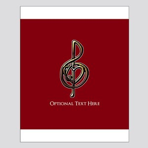 Custom Red Treble Clef Music Design Small Poster
