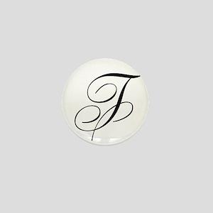 F Initial in Black Script Mini Button