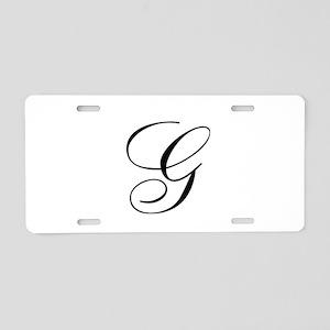 G Initial in Black Script Aluminum License Plate