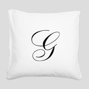 G Initial in Black Script Square Canvas Pillow