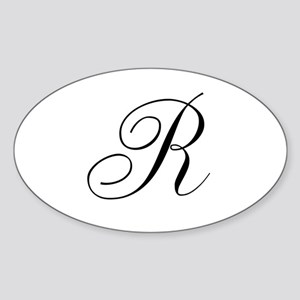 R Initial in Black Script Sticker