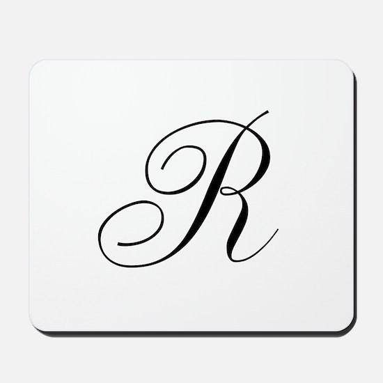 R Initial in Black Script Mousepad