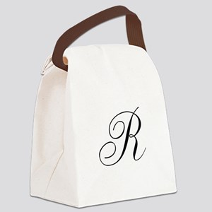 R Initial in Black Script Canvas Lunch Bag