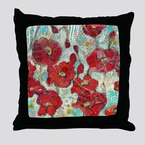 Glowing Red Poppies Throw Pillow