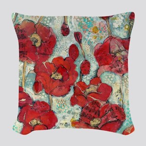 Glowing Red Poppies Woven Throw Pillow