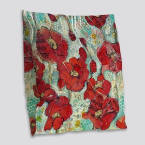 Glowing Red Poppies Burlap Throw Pillow