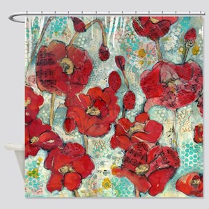 Glowing Red Poppies Shower Curtain