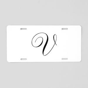 V Initial in Black Script Aluminum License Plate
