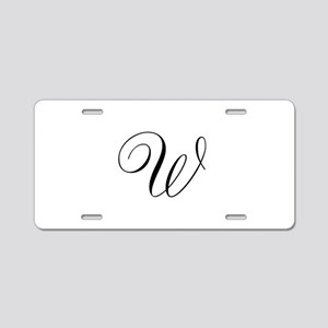 W Initial in Black Script Aluminum License Plate