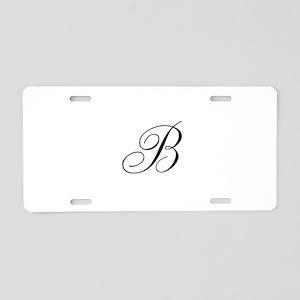 B Initial in Black Script Aluminum License Plate
