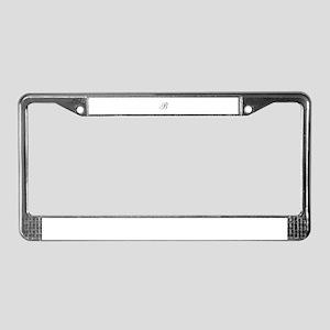 B Initial in Black Script License Plate Frame