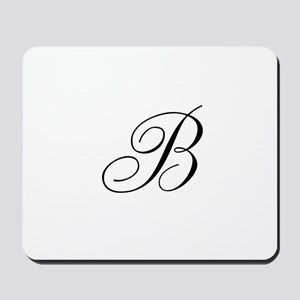 B Initial in Black Script Mousepad