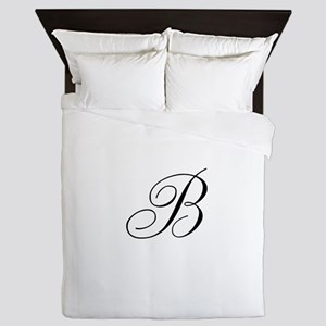 B Initial in Black Script Queen Duvet