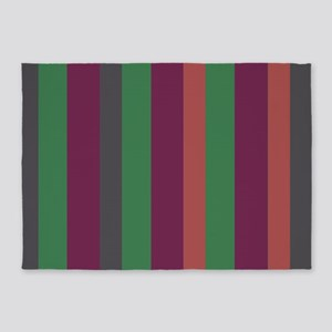 Triple Green Stripe 5'x7'Area Rug