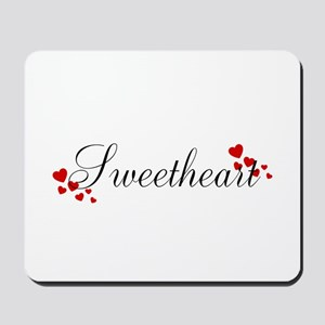 Sweetheart Red and Black Hearts Mousepad