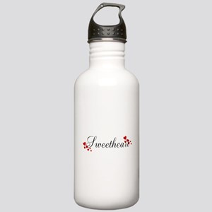 Sweetheart Red and Black Hearts Water Bottle