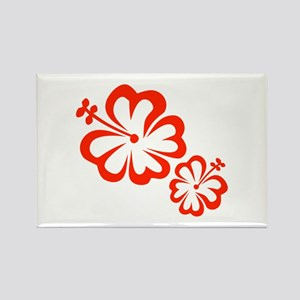 Red Hibiscus Flowers Magnets