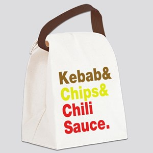 Kebab and Chips and Chili Sauce. Canvas Lunch Bag