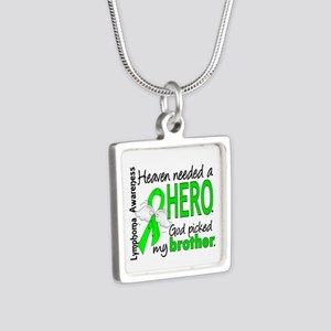 Lymphoma HeavenNeededHero1 Silver Square Necklace