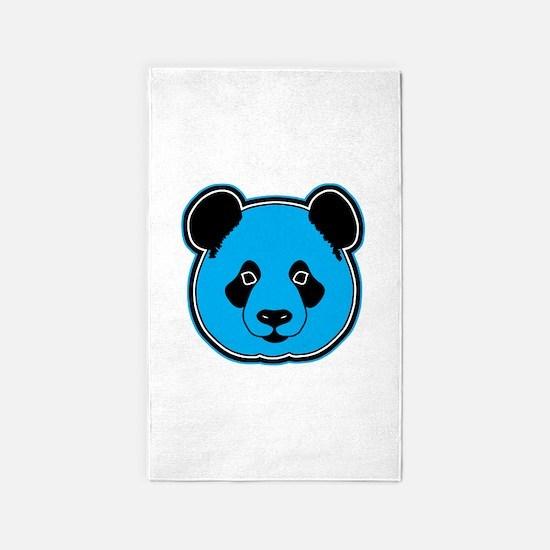 panda head blue 01 3'x5' Area Rug