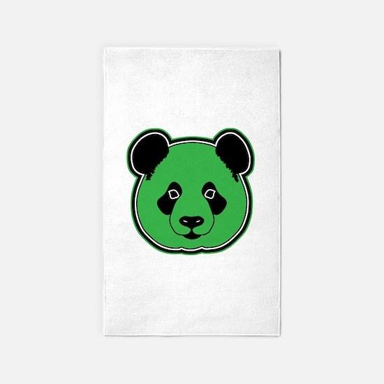 panda head green 01 3'x5' Area Rug
