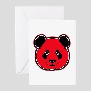 panda head red 01 Greeting Card
