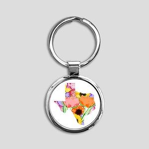Floral Texas Round Keychain