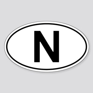 Norwegian Oval Car Sticker - N For Norway