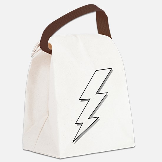 Black and White Lightning Bolt  Canvas Lunch Bag