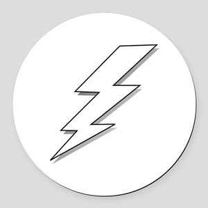 Black and White Lightning Bolt  Round Car Magnet