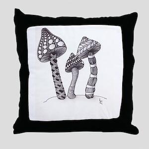 TripleShroom Throw Pillow