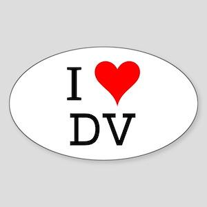 I Love DV Oval Sticker