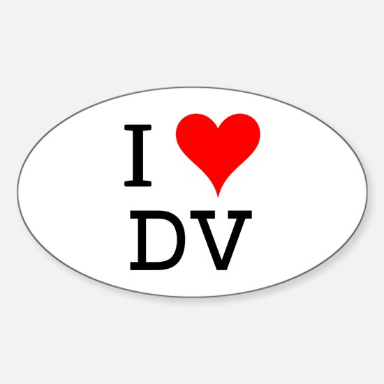 I Love DV Oval Decal