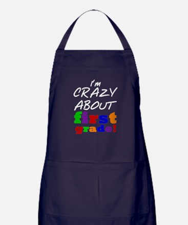 Crazy About First Grade Apron (dark)