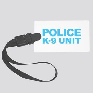 Police K-9 Unit - Blue Text Large Luggage Tag
