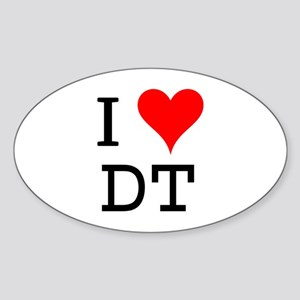 I Love DT Oval Sticker