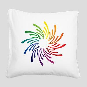 Color Wheel Flower Square Canvas Pillow