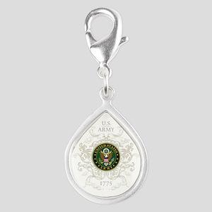US Army Seal 1775 Vintage Silver Teardrop Charm