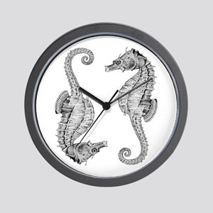 Vintage Seahorses in Woodcut style Wall Clock