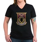 USS FORRESTAL Women's V-Neck Dark T-Shirt