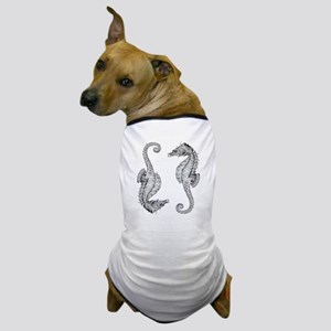 Vintage Seahorses in Woodcut style Dog T-Shirt
