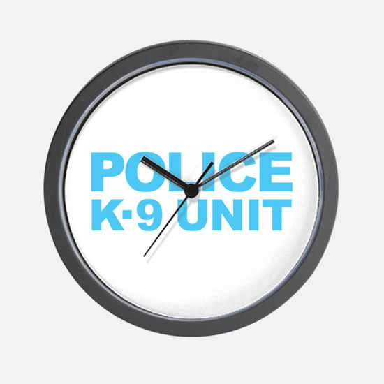 Police K-9 Unit - Blue Text Wall Clock