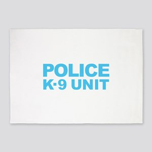 Police K-9 Unit - Blue Text 5'x7'Area Rug