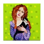 Lady & Cat Tile Coaster