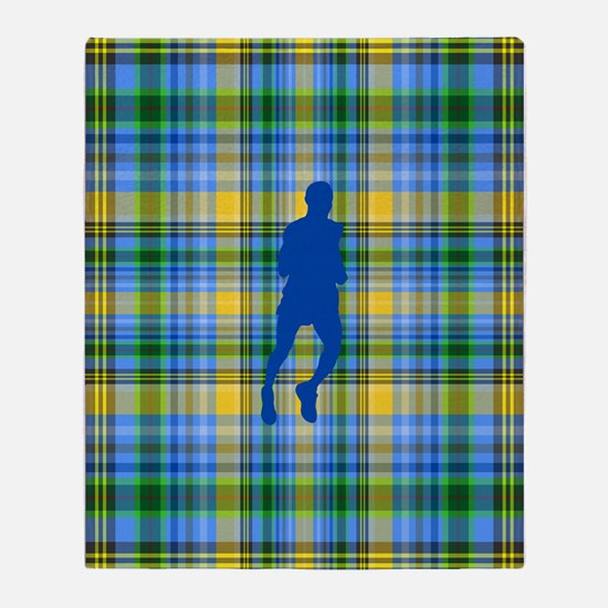 Runners Plaid male blue Throw Blanket