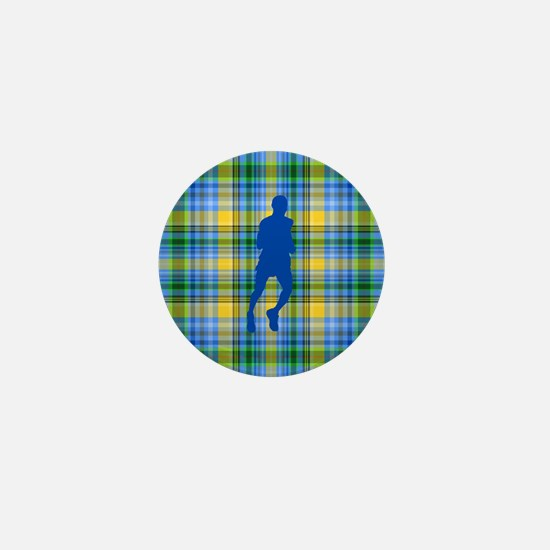 Runners Plaid male blue Mini Button
